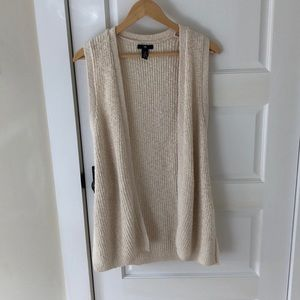 Knitted Cream Sweater Vest (long)